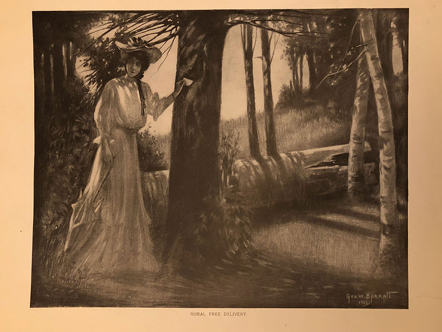 Rural Free Delivery, woman in woods with trees